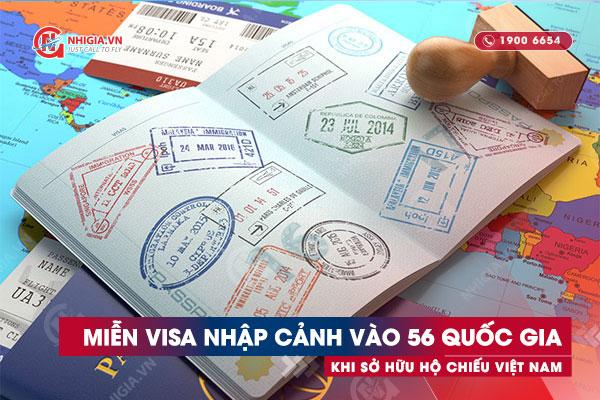 56 quốc gia miễn visa khi có hộ chiếu Việt Nam