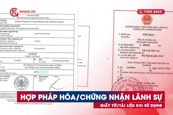Hợp pháp hóa và chứng nhận lãnh sự giấy tờ/tài liệu