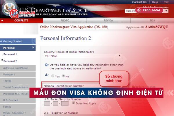 Mẫu tờ khai xin visa Mỹ không định cư điện tử